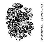 flower rose  black and white.... | Shutterstock .eps vector #1129846715
