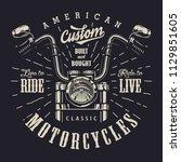 vintage motorbike monochrome... | Shutterstock .eps vector #1129851605