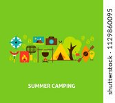 summer camping greeting card.... | Shutterstock .eps vector #1129860095