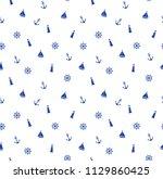 cute seamless marine pattern... | Shutterstock .eps vector #1129860425
