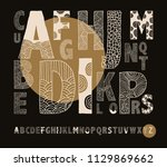 hand drawn alphabet decorated... | Shutterstock .eps vector #1129869662