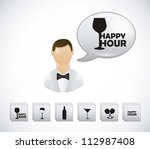waiter with happy hour symbols... | Shutterstock .eps vector #112987408