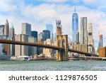 suspension brooklyn bridge... | Shutterstock . vector #1129876505