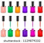 set of realistic opened nail... | Shutterstock .eps vector #1129879232