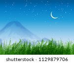 landscape with green grass ... | Shutterstock .eps vector #1129879706