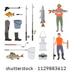 fishing tools isolated on white ... | Shutterstock .eps vector #1129883612