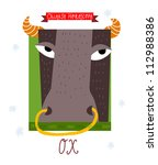 ox. horoscope vector drawing. | Shutterstock .eps vector #112988386
