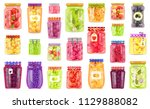 glass jars collection with... | Shutterstock .eps vector #1129888082