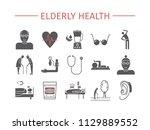 elderly health flat icons set.... | Shutterstock .eps vector #1129889552