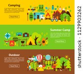 camping web banners. flat style ... | Shutterstock .eps vector #1129903262