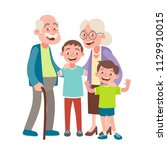 grandparents and two grandsons... | Shutterstock .eps vector #1129910015