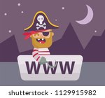 web pirate in www boat. ... | Shutterstock .eps vector #1129915982