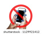 hands using mobile smart phone... | Shutterstock . vector #1129921412