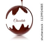 ball of black melted chocolate. ... | Shutterstock . vector #1129924085