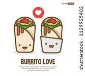 happy smiling face burrito... | Shutterstock .eps vector #1129925402