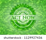 act now green emblem with... | Shutterstock .eps vector #1129927436