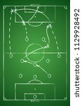 soccer tactic table. hand drawn ... | Shutterstock .eps vector #1129928492