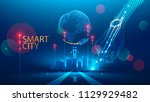 smart city communication with... | Shutterstock .eps vector #1129929482
