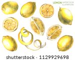 lemon illustration. lemon slice.... | Shutterstock . vector #1129929698