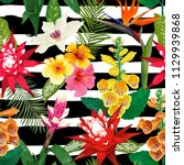 tropical flowers seamless... | Shutterstock .eps vector #1129939868