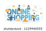online shopping concept. buying ... | Shutterstock .eps vector #1129940555
