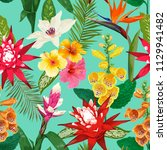 tropical flowers seamless... | Shutterstock .eps vector #1129941482