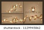 set of gold vip invitation... | Shutterstock .eps vector #1129945862