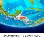 honduras highlighted in red on... | Shutterstock . vector #1129947692