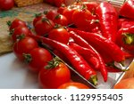 red chili pepper and cocktail... | Shutterstock . vector #1129955405