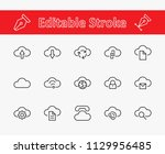 set of cloud vector line icon.... | Shutterstock .eps vector #1129956485