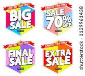 set summer sale tags  discount... | Shutterstock .eps vector #1129961438