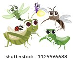 set of cute insects cartoon... | Shutterstock .eps vector #1129966688