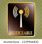 golden badge with antenna... | Shutterstock .eps vector #1129966832