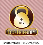 gold emblem or badge with 4kg... | Shutterstock .eps vector #1129966922