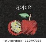 Apple Written On Blackboard...