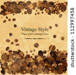coffee seeds background.... | Shutterstock .eps vector #112997458