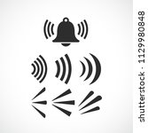 ringing bell sounds vector icon ... | Shutterstock .eps vector #1129980848