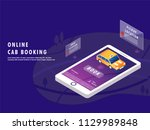isometric design of online cab... | Shutterstock .eps vector #1129989848