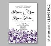 purple violet peony dahlia... | Shutterstock .eps vector #1129991912