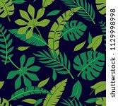 tropical vector green leaves... | Shutterstock .eps vector #1129998998