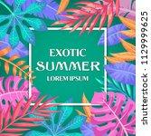 trendy summer tropical leaves... | Shutterstock .eps vector #1129999625