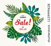 trendy summer tropical leaves... | Shutterstock .eps vector #1129999628