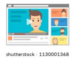 young handsome male blogger... | Shutterstock .eps vector #1130001368