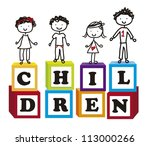cute children over cute blocks...   Shutterstock .eps vector #113000266