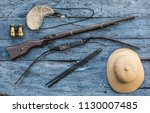 vintage hunter accessories ... | Shutterstock . vector #1130007485