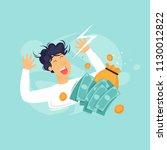 happy man with money ...   Shutterstock .eps vector #1130012822