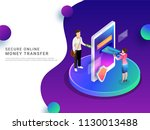 isometric  online payment by... | Shutterstock .eps vector #1130013488