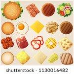 burgers set. top view.... | Shutterstock . vector #1130016482