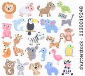 cute animals set. | Shutterstock .eps vector #1130019248