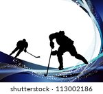hockey player silhouette with... | Shutterstock .eps vector #113002186
